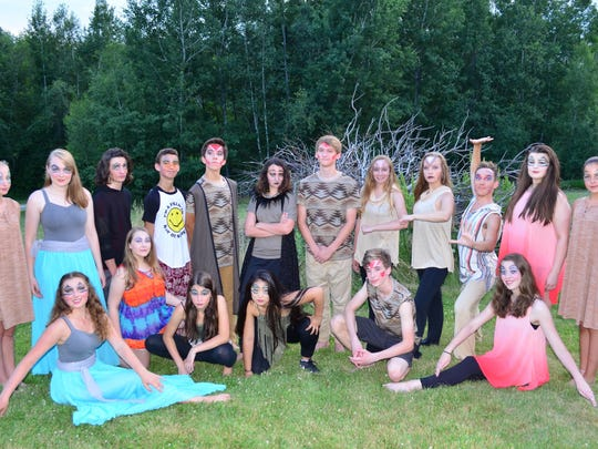 """Vermont Youth Dancers who will present """"Pride."""" Front row from left: Olivia Percy, Madeline Nickerson, Amy Merena, Lily Brown, Owen Bauman, Abigail Bauman, Back row standing: Jamie Bouchard, Colleen Haupt, Robert Russell, Tanner Paffen, Liam Kinney, Sierra Aguiar, Hunter Groff, Saege Robinson, Anne Stetson, Steven Sonntag, Sarah Robert, Olivia Johnston."""