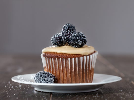 Blackberry Jam Cupcakes with soft caramel frosting