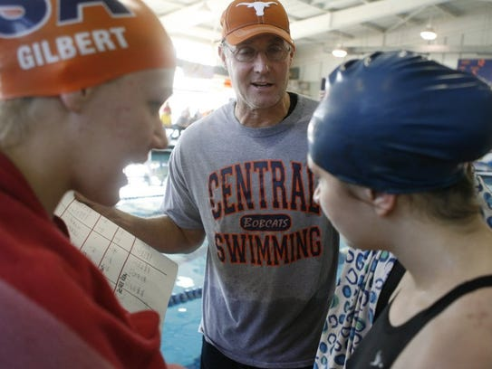 Central High School head swimming coach David Hague is in this 40th season with the Bobcats.