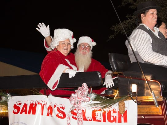 Santa and Mrs. Claus rode into Stuart on Santa's Sleigh,