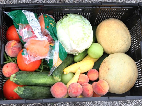 An example of the produce given out each Wednesday at Kirkersville United Methodist Church.