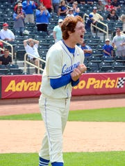 Carlsbad's Trevor Rogers celebrates winning the 6A state championship game, 2-1 against Rio Rancho, on May 14, 2016 in Albuquerque. Rogers was drafted 13th overall by the Miami Marlins on Monday.