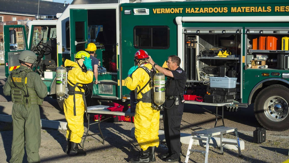 Bomb squad and hazardous materials personnel respond