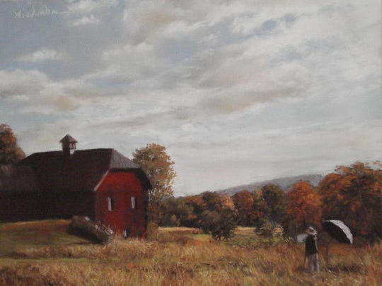 """Artist in the Field"" by Marlene Wiedenbaum is part of the exhibit, ""Painting the Town, New Paltz and Beyond"" at the Mark Gruber Gallery in New Paltz through July 9."