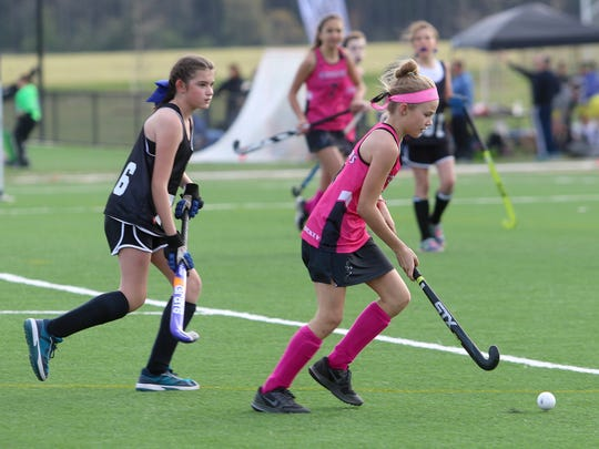 "Action from the ""Shooting Star Easter Tournament"" on April 14-15 that saw 84 U14, U16 and U19 field hockey teams with hundreds of players from around the Mid-Atlantic region competing at the complex."