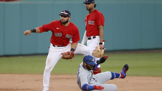 Jose Peraza crosses the bag at second after making a throw to first base earlier this month.