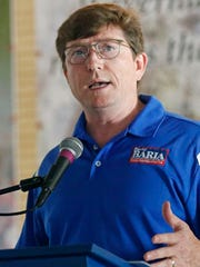Rep. David Baria, D-Bay St. Louis, the Democratic nominee for the U.S. Senate seat held by Republican Roger Wicker, stresses his Mississippi ties as he speaks Thursday , Aug. 2, 2018, at one of the biggest political events of the year in the state, the Neshoba County Fair, in Philadelphia, Miss.