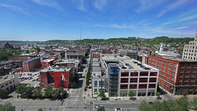 A view of Over-The-Rhine photographed from the Kroger building in downtown Cincinnati, looking straight up Vine Street, Tuesday, May 19.