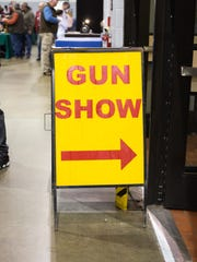 Sign at Showmasters Gun Show at the Richmond International Raceway Exhibition Hall on March 25.