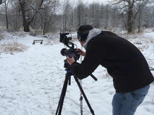 The Discover Wisconsin crew films at Maywood Environmental Park in Sheboygan.