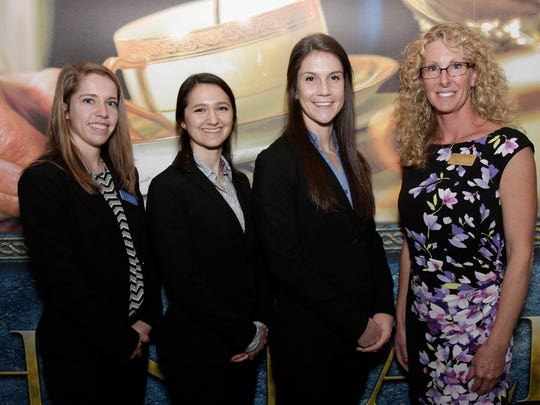 The Misericordia University Doctor of Physical Therapy student-faculty research team, from left, Rachael Harding of Ringwood, Kathryn Heffner of Somerset, Aryn Zimmerman of  Murrysville, Pennsylvania and Amy Tremback-Ball, P.T., Ph.D., associate professor of physical therapy, made the scholarly presentation, 'The Efficacy of Kinesiology Taping in the Treatment of Women with Post-Mastectomy Lymphedema: A Systematic Review,' at at the American Physical Therapy Association NEXT Conference and Exposition in Boston, Massachusetts.