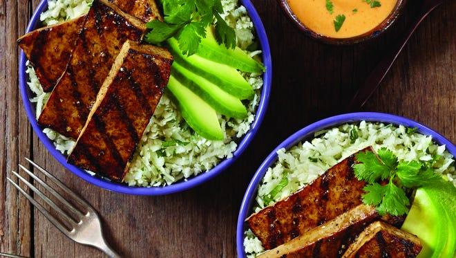 Grilled balsamic tofu with cauliflower cilantro rice and avocado