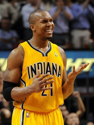 Pacers forward David West shows frustration during a road loss to the Heat on Dec. 18.