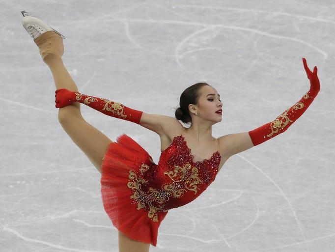 Alina Zagitova of Russia performs during the women's