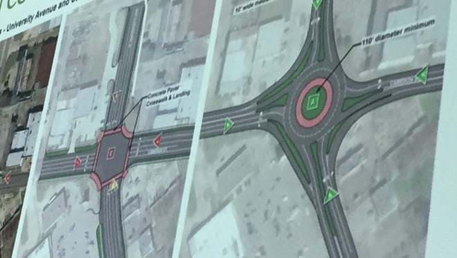 University Avenue at Cameron Street could be rebuilt with a roundabout or with turning lanes and more pedestrian-friendly improvements. April 10, 2018.
