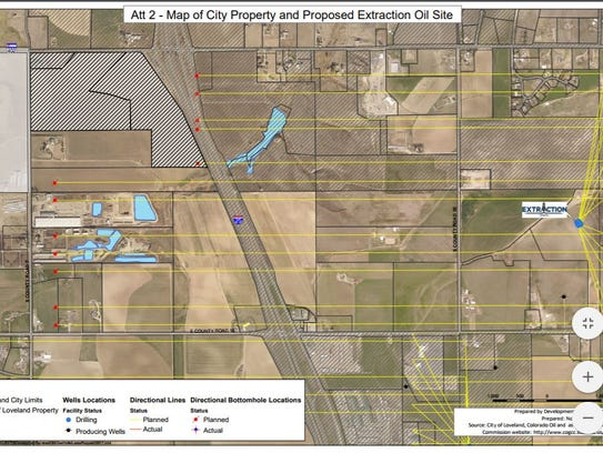 The map above shows city of Loveland property and the