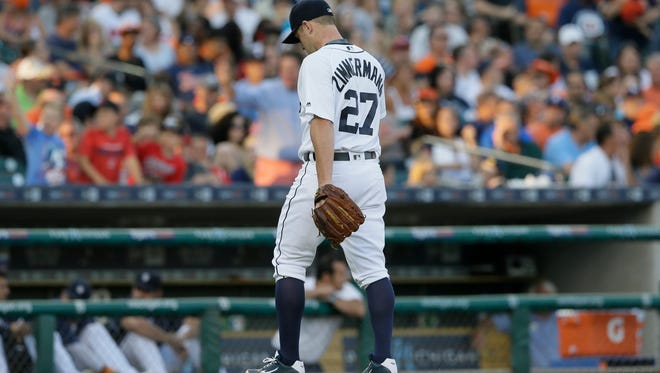 Tigers pitcher Jordan Zimmermann walks to the dugout after being relieved during the fourth inning Friday at Comerica Park.