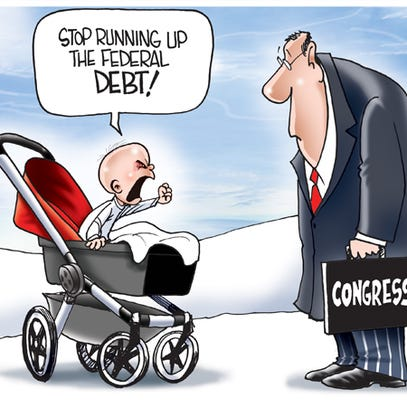 The devil baby has been freaking people out on the streets of New York as a promotional stunt for a movie. But real babies would be enraged if they knew the size of the federal debt that Congress is leaving them.