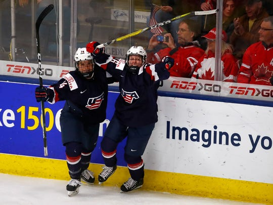 Brianna Decker #14 and Kendall Coyne #26 of the United