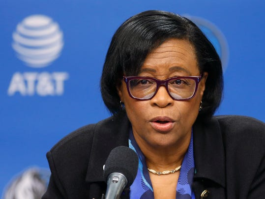 Interim CEO of the Dallas Mavericks Cynthia Marshall speaks during a news conference, Monday, Feb. 26, 2018, in Dallas. (AP Photo/Ron Jenkins)