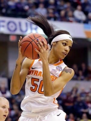 Syracuse center Briana Day (50) grabs a rebound