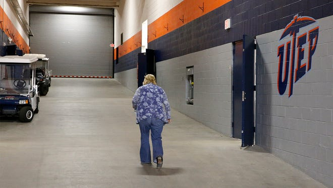 Former UTEP head coach Keitha Adams exits the Don Haskins Center through the tunnel for the final time after holding her farewell press conference. Adams was named the head coach for the Wichita State Shockers basketball program last week.