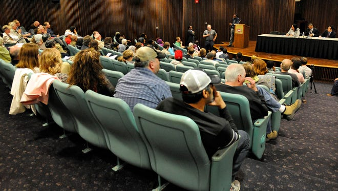 People get a chance to speak during a public forum organized by the Council on American-Islamic Relations and the St. Cloud State Muslim Student Association with representatives from the U.S. Department of Education and the U.S. Department of Justice.
