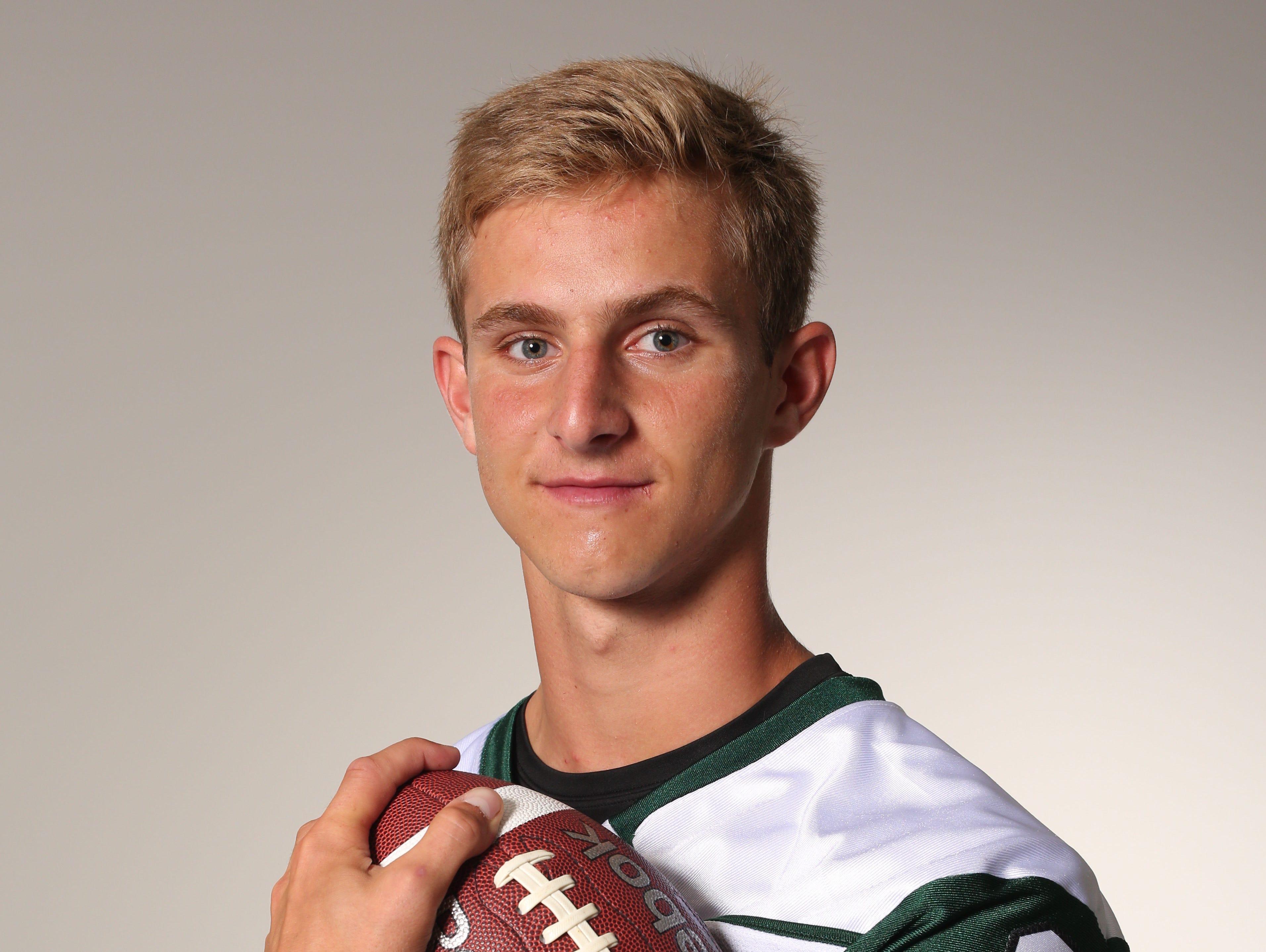 Jack Guida, quarterback at Brewster High School, photographed Aug. 24, 2016.