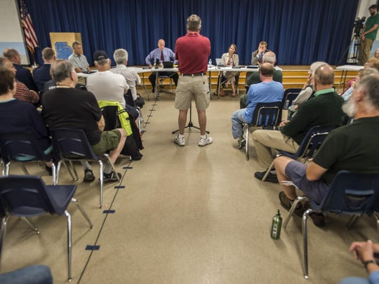 Dozens spoke at Wednesday night's South Burlington City Council meeting both for and against a lawsuit challenging safety and sound mitigation of the F-35 fighter jet planned to be based at the Vermont Air National Guard facility at Burlington International Airport.
