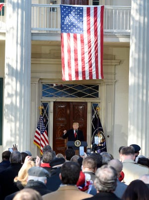 President Donald Trump addresses a crowd at The Hermitage on Wednesday, March 15, 2017, in Nashville.