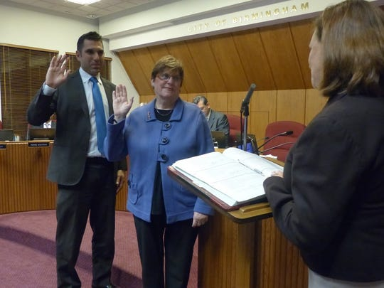 Andy Harris is sworn in as the new city mayor of Birmingham, and Patty Bordman the new mayor pro tem, at the Nov. 13 City Commission meeting.
