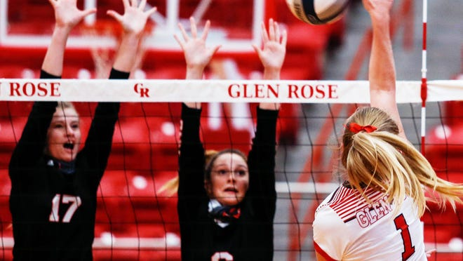 Glen Rose's Abby Koerner (1) recorded a season-high 12 kills Saturday in the 3-0 victory over Mineral Wells.