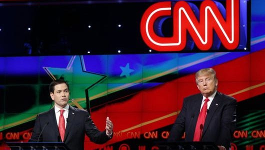 Marco Rubio and Donald Trump at the Republican debate, March 10, 2016, in Coral Gables, Fla.