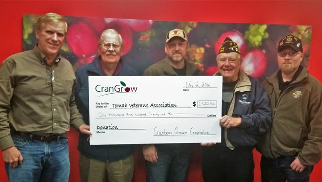 From left to right – Jim Reed, CEO of CranGrow, representing The Tomah Veterans Association, Pete Peterson, Eric Diekmann, John Rusch, and Pete Henning.