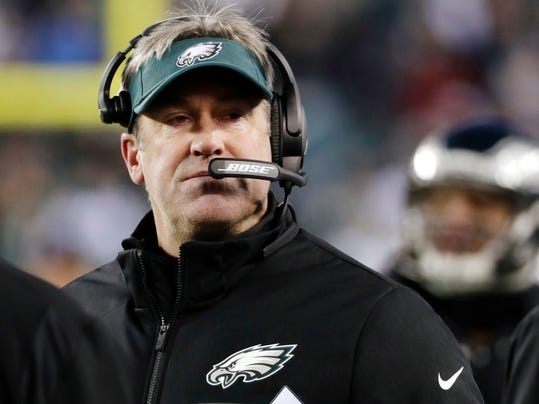 FILE - In this Saturday, Jan. 13, 2018, file photo, Philadelphia Eagles' head coach Doug Pederson looks on during the first half of an NFL divisional playoff football game against the Atlanta Falcons in Philadelphia. The Eagles and the New England Patriots are set to meet in Super Bowl 52 on Sunday, Feb. 4, 2018, in Minneapolis. (AP Photo/Chris Szagola)