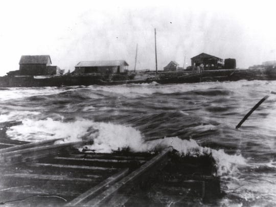 The railroad track leading from Ocean City to the fish camps on Assateague during the 1933 storm.
