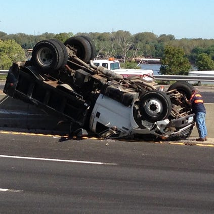 Dump truck loses load on I-55.