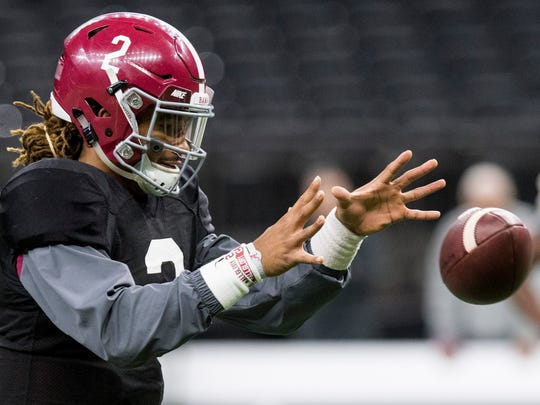 Alabama quarterback Jalen Hurts (2) during practice at the Superdome in New Orleans, La. on Thursday December 28, 2017.