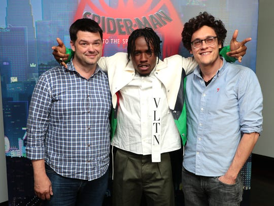 Christopher Miller, Shameik Moore and Phil Lord at