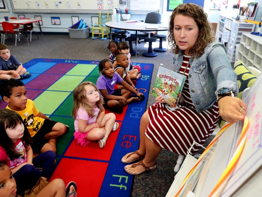 Reeves-Rogers Elementary kindergarten teacher Amy Stevenson works with students during KinderCamp held in July 2018. Murfreesboro City Schools hosts the camp to help rising kindergarten students prepare for the classroom setting.
