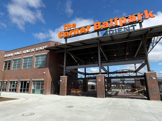 An entrance to The Corner Ballpark is seen at the site of the former Tiger Stadium, Friday, March 23, 2018 in Detroit. The Detroit corner that has been a stage for many of baseball's greatest players now will host youth games, events and other programs for young people. The facility also is headquarters for the nonprofit Detroit Police Athletic League and features the Willie Horton Field of Dreams, named after the former player who helped the Tigers win the 1968 World Series. (AP Photo/Carlos Osorio)