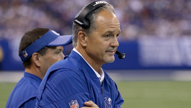 One that got away: Indianapolis Colts coach Chuck Pagano watches the Colts blow their lead against the Cardinals on Sept.17. The Colts lost in overtime, 16-13.