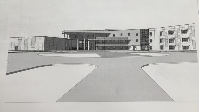 This architectural rendering shows the planned exterior of the new Lafayette Parish high school in the southern part of the parish.