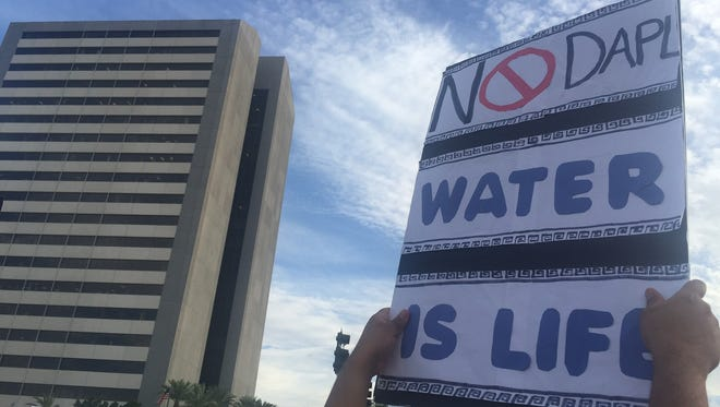 """Protesters chanted """"Water is life"""" while marching down Central Avenue in Phoenix on Sept. 13, 2016."""