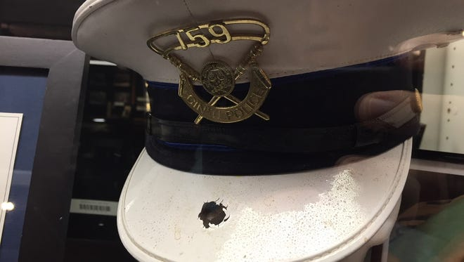 This is the hat worn by Officer Kristina Holtman on the day she was shot in 2006.