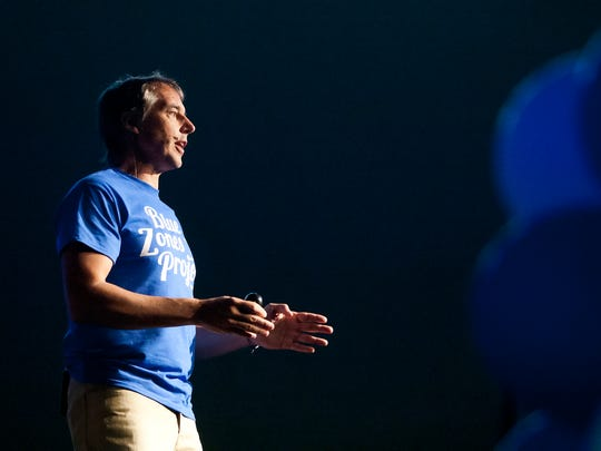 """Dan Buettner, author of """"Blue Zones"""", was the keynote speaker Saturday at the Blue Zones Project-Southwest Florida event at North Collier Regional Park in Naples. Naples wants to be a Blue Zone along with Bonita Springs, Estero, Immokalee, East Naples, Golden Gate and Marco Island. This is an 8-10 year project. Traits of people in Blue Zones are movement, eating more fruits and vegetables, a sense of purpose, strong faith, close bonds with friends and family."""