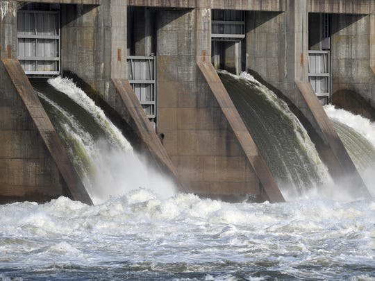 Water flows through the Pickwick Dam in Counce, Tenn., on Wednesday, April 26, 2017.