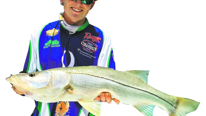 Florida Gulf Coast University Fishing Team angler Conner Thomson got in on the hot snook bite with Get Hooked Charters Capt. Matt DeAngelis.