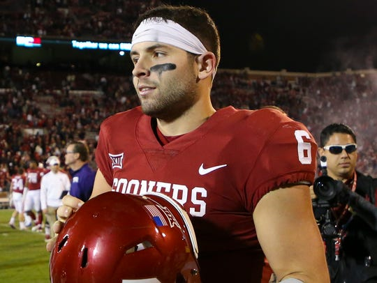 Oklahoma Sooners quarterback Baker Mayfield (6) after