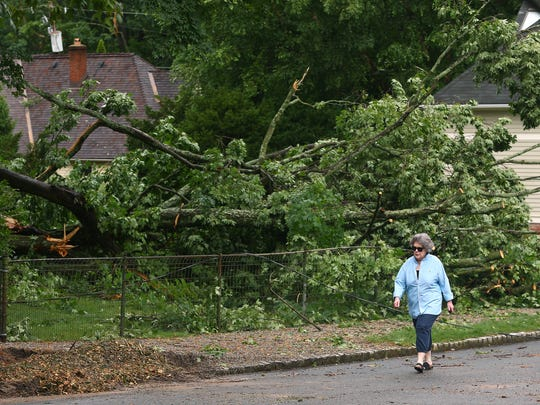 A woman walks by a downed tree on Colles Avenue in Morristown after a fast-moving, ferocious thunderstorm Friday afternoon toppled trees onto houses, at least two occupied cars and knocked out power to 7,608 JCP&L customers throughout Morris County.  August 4, 2018. Morristown, NJ